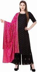 Ganesh Textiles Black Rayon Printed Kurta palazzo and Dupatta Set, For Party Wear