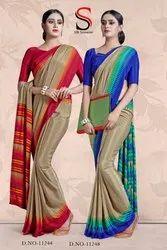 Atulya Sarees Silky Print Uniform Crepe Silk Saree, 6.30 m (with blouse piece)