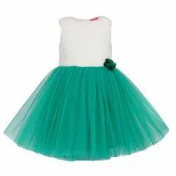 Green Women TBKF2022GN - Kids Girls Party Wear Knee Length Frock, Size: 6 Months -12 Years