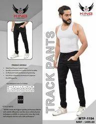 King Mens Black Cotton Track Pant