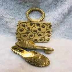 European Gold And Black Printed Design Shoes And Bag For Women And Girl