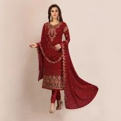 Maroon Nivah Fashion Women's Embroidery Georgette Dress Material