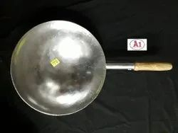 Ms Round Mild Steel Chinese Wok, Capacity: 1.1 Litre, Size: 16inch