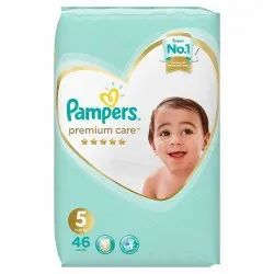 Cotton Inner Cover Disposable Pamper Premium Care Diapers Size - 5 (46 Pcs) (11-16 Kg), Age Group: 1-2 Years