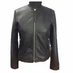 Full Sleeve Plain MBE/4764 Sheep Black Leather Jacket