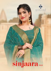 Seemayra Fashion 6.5m Festive Wear Banarasi Cotton Sarees, With Blouse