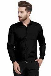 Urban Elements Collar Neck Men Plain Cotton Shirts, Handwash
