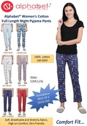 Multicolor Cotton Ladies Pyjama
