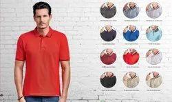 Half Sleeve Cotton Men Red Polo Neck T Shirt