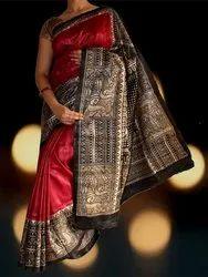 Red Print Work Designer Silk Saree