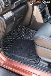 Black Pu Leather Thar 2020 7D Floor Mate