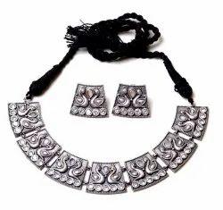 Silver Look oxidized Bird Necklace