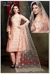 VB Sons Model Chanderi Ladies Peach Straight Suit