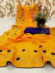 ANK Enterprise Vichitra Silk Bollywood Designer Stone Work Saree
