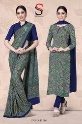 Printed Corporate Uniform Saree