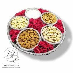 Raza Agencies Aluminum Dry Fruit Packing Tray, For Home, Shape: Circular
