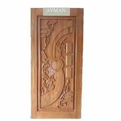 Brown Handicraft Wooden Door