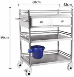 Dressing Trolley- Powder Coated Steel With 1 X Draws And Rail