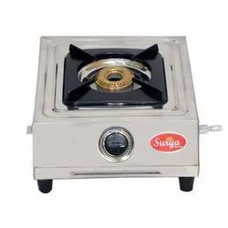1 Stainless Steel Surya Single Burner Gas Stove, For Kitchen, Size: 20x24x10 Cm