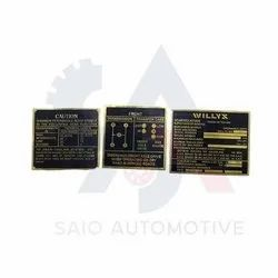 Brass Black Dash Data Plate 3 Unit For Willys MB Ford GPW CJ3D CJ-2A Auto Spare Parts Jeep Body