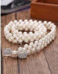 Elegant Fashion Belt With Pearl Bead