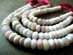 Natural Lavender Opal Gemstone 10-12mm Beads Plain Smooth Rondelle Real Opal Beads
