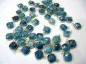 Natural Gemstone Cushion Square Shape Single Loop Bezel Connectors Gold Plated 10mm Charms