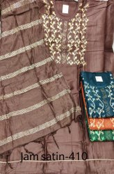 Cotton 46inch Ladies Brown Satin Embroidered Unstitched Salwar Suit