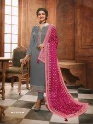 Mix Pant Georgette Satin Salwar Kameez, Size: Free