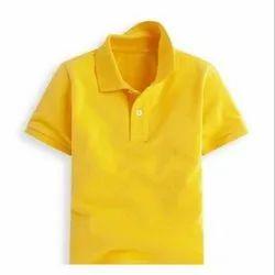 Polo Neck Half Sleeve Hoseiry Casual Wear Kids T Shirt, Size: XS-XXL