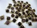Natural Gemstone Cushion Square Shape Double Loop Bezel Connectors Gold Plated 10mm Charms