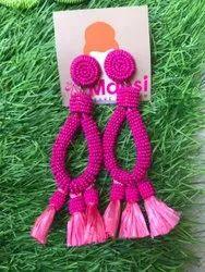 Mansi Beads Pink Boho Beaded Earring