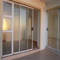 7star Pristine White Aluminium Sliding Doors, For Office, Exterior