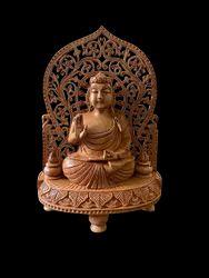 Gautam Buddha Wooden Murti 9 Inch Sitting On Singhaasan