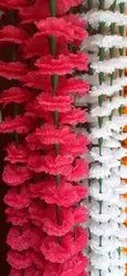 Artificial Fabric Flowers Garland - Red/White