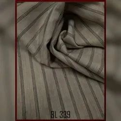 Brown Striped Linen Fabric, GSM: 100-150