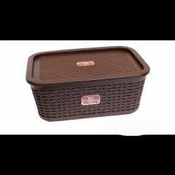 Brown Rectangular 2 Litre Plastic Storage Box