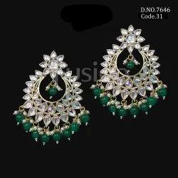 Fusion Arts Kundan Chandbali Earrings