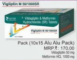 Vildagliptin and Metformin Hydrochloride SR Tablets