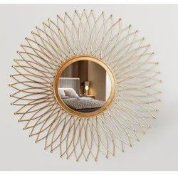 Golden Wall Mounted Round Bathroom Mirror, For Home