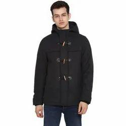 Hooded Black Grey Melange Mens Woolen Jackets
