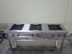 Stainless Steel Commercial Kitchen 3 Burner Cooking Range