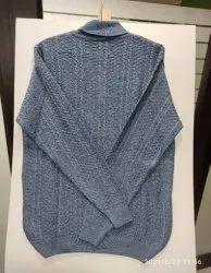 Full Sleeves INDLON Men's Round Neck Self-Design Gray Sweater