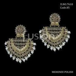 Fusion Arts Polki Chandbali Earrings