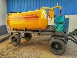 Engine Operated Sewer Suction Machine Mounted On Four Wheel Trailer Chassis.