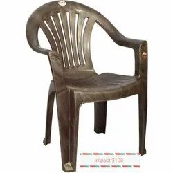 Grey Plastic Chair With Armrest