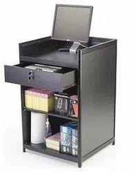 24 Cash Register Stand W/Locking Drawer, Adjustable Shelf, Ships Assembled - Black