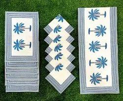 Sanganeri printed Canvas cotton Dining Table Mat Set Of 6, 3 Items