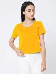 Behariji Enterprises Hosiery Cotton Half Sleeve Ladies Crop Top (Yellow), Size: XS-XXL