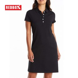 Half Sleeve Black Women Long Polo Tshirt